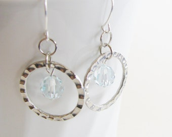 Blue Swarovski and Hammered Hoop Earrings
