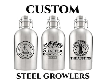 Custom Silver Growler 64oz- Personalized Growler Engraved- Stainless Steel Beer Growler