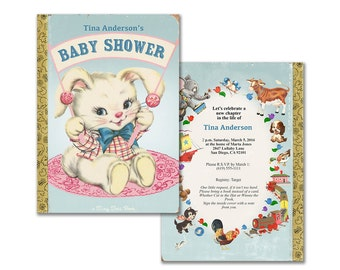 Baby shower invitation for storybook theme / printable invitation / gender neutral bunny / editable PDF/ add your own text then print