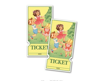 Printable vintage raffle tickets of retro boys and girls / instant download / for birthdays, baby showers, school events, libraries, parties