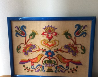 Retro Scandivanian Bird Tapestry in Blue Frame