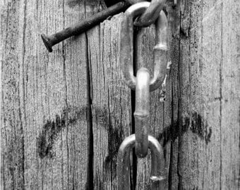 Fine Art Print, Fence Post, Rustic Decor, Black and White