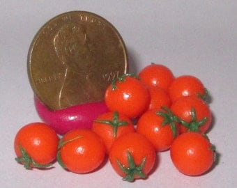 Miniature Dollhouse TWO Loose RED TOMATOES w/ stem Vegetable Food 1:12 #0697