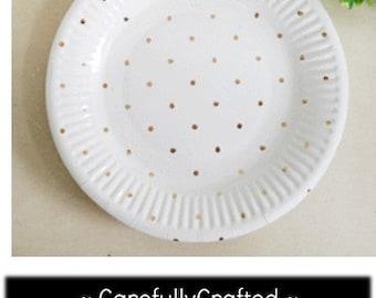 Metallic Gold Polka Dot Paper Plates - Small