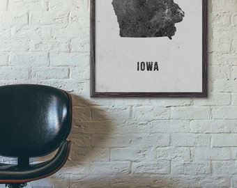 Iowa Map Paint, Industrial Map Poster, State Map Print, Scandinavian, Black and White, Modern, Loft, Cafe, 5x7 8x10 11x14 A3 A4 A5, E015