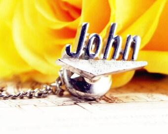 Dear John tie tack. John name tie tack with beautiful hardware.