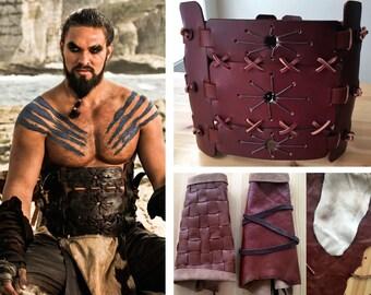 Khal Drogo Cosplay Game of Thrones Dothraki Leather Armor Costume Guantlets Handmade Belt Corset Set