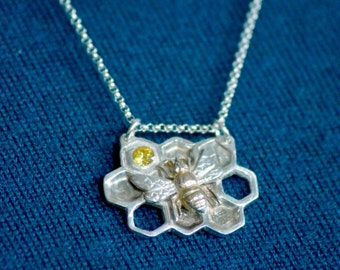 Busy Bee, Silver and gold pendant
