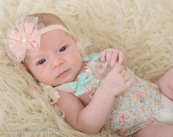 Peach Lace Headband, Baby Girl Headband, Pastel Headband, Newborn Photo Prop, Baby Shower Gift, Elastic Headband, Toddler Headband, Adult
