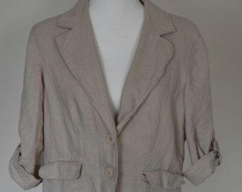 1990's Linen Button Up Cropped Blazer Jacket