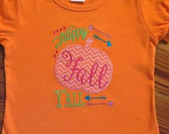 Happy Fall Yall Applique Embroidery Pumpkin Applique design