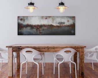 Black Red and Grey Large Art 60 x 20 Abstract Painting Large Wall Art - Acrylic painting, Original painting   Ready to Hang by Maria Sa