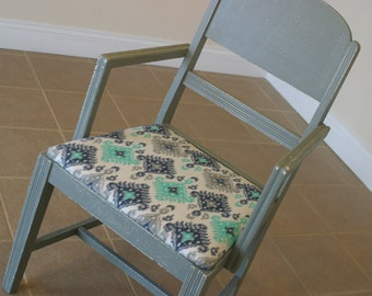 Antique Blue Accent Chair, Ikat Fabric, Blue and Green Ikat, Upholstered Dining Chair, Silver Blue Side Chair, Desk Chair, Captain's Chair