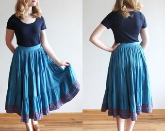 Salt River Skirt * 1950s chambray tiered circle skirt * Size 4