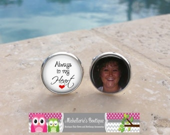 Always in my Heart Cufflinks, Custom photo Cuff Links and or Tie Clip,Photo Memorial Cufflinks, In memory of Cufflinks,120