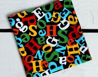 Reusable Snack and Sandwich Bag with Robert Kaufman Dr Suess Alphabet Fabric