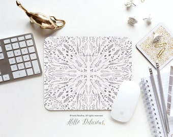 "Floral Mousepad ""Grey Maze"" by Iveta Abolina Mousepad Mouse Mat Gray Floral Mouse Pad Office Mousemat Heart Mousemat Mousepad Round I194"