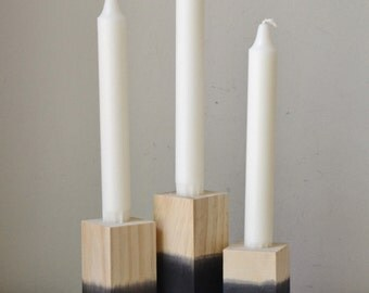 Set of Three Black Dipped Wooden Candlestick Holder