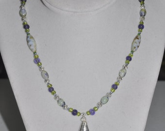 Necklace Purple Green Teal Wire-Wrapped silver Pendant #789