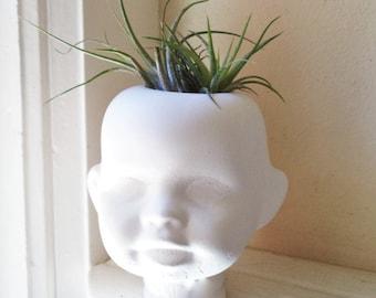 Doll head planter, Creepy doll head sculpture, candle holder, air plant holder