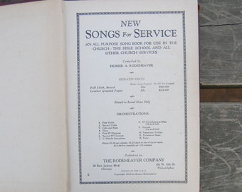 New Songs for Service - First Edition - Hymnal Song Book 1929 Homer Rodeheaver