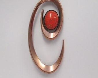 Vintage Matisse Renoir Signed Atomic Coronet Brooch, C shape Copper Orange Red Enameled Cabochon Insert, Mid Century Fall Designer Jewelry