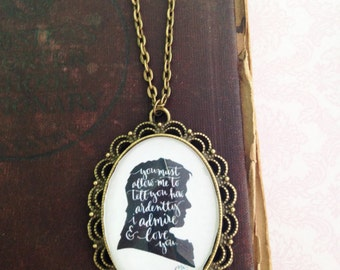 Handmade Mr. Darcy Quote Silhouette Necklace // Jane Austen Cameo // Pride and Prejudice // Mr. Darcy Proposal