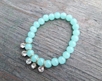 Mint Green Stone Bracelet, Stone Bracelet with Rhinestones, Green Quartz Bracelet, Valentine's Day Gift for Her, Gift for Girlfriend