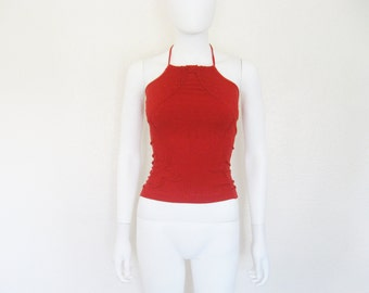 90s Red High Neck Halter Top