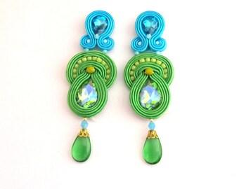 Long Blue Clip On Earrings, Soutache Earrings, Drop Earrings, Blue Earrings, Green Earrings, Dangle Earrings, Clip On Earrings
