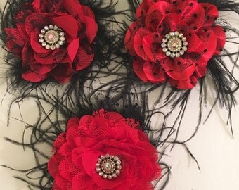 Red Black Flower Feather Fascinator Clip. Dance,Wedding, Bridal, Dance costume Competition,Fancy Custom made Hair Fascinator