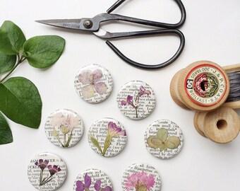 Pressed Flower Pin on Vintage Gardening Encyclopedia Page