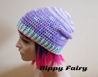 Mint and lilac pastel tones slouchy beanie hat