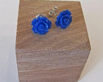 Blue - Rose Flower Stud Earrings - Hypoallergenic