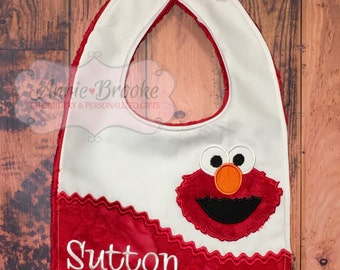 Elmo Personalized Bib, - Elmo Bib, - Monogrammed Baby Bib, - Embroidered Baby Bib, - Baby Shower Gift