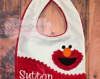 Red Monster Personalized Bib, - Red Monster Bib, - Monogrammed Baby Bib, - Embroidered Baby Bib, - Baby Shower Gift