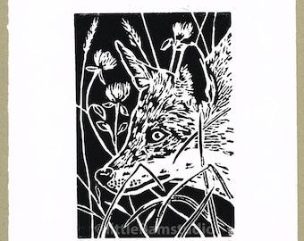 Fox art print - Linocut Print Original hand-pulled