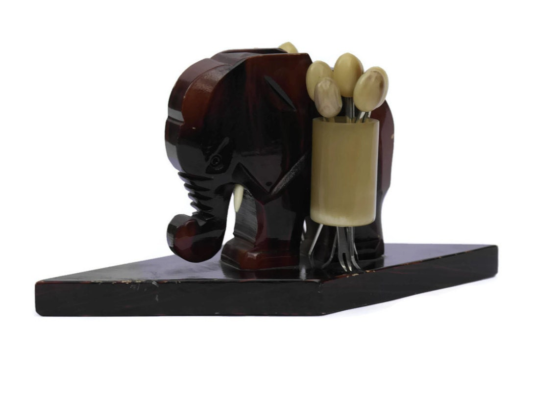 art deco elephant with cocktail forks vintage wooden elephant. Black Bedroom Furniture Sets. Home Design Ideas