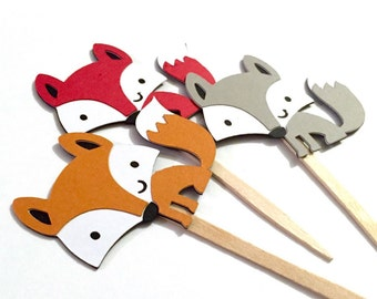 Baby Fox Cupcake Toppers Set of 12 / Paper Woodland Animal Cupcake Topper Forest Animal Cupcake Topper Fox Cake Topper Fox Baby Shower