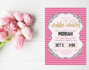Lingerie Bridal Shower Invitations - Victoria's Secret Inspired Bridal Shower Invites - Printable or Printed