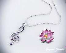 Clef Necklace, Treble Clef, Music note necklace, Silver necklace, Music Jewelry