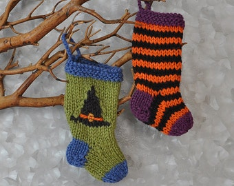 Halloween Witch Hat & Sock Hand-Knit Christmas Stocking Ornaments  *Available to Order*