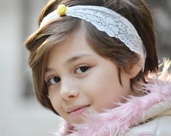 Baby headbands, ivory lace headband, flower headbands, bows for girls, bows for little girl, baby girl gift, baby shower gift, newborn photo