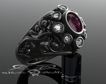ruby and diamond filigree engagement ring 14kt antiqued black gold scrollwork gothic victorian vintage - R2d2 Wedding Ring