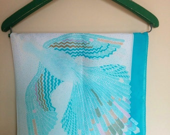 Turquoise Bird 'Robinson Golluber' Scarf - Vintage 1980s