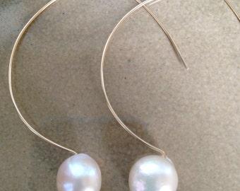 Freshwater Pearl  & 14K Gold filled Wire Earrings