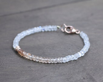 Ombre Imperial Topaz & Moonstone Rose Gold Filled Delicate Bracelet, Shaded Pale Brown White Multi Gemstone Bracelet, Natural Topaz Jewelry