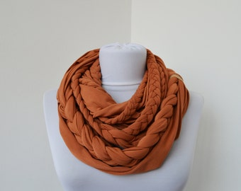 Cinnamon Scarf Infinity Jersey Scarf Partially braided Circle Scarf Scarf Nekclace