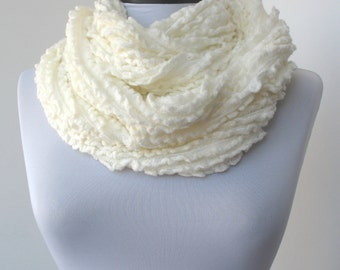 CLEARANCE - White Fabric Scarf Infinity Scarf Loop Scarf Circle Scarf Soft Scarf    842