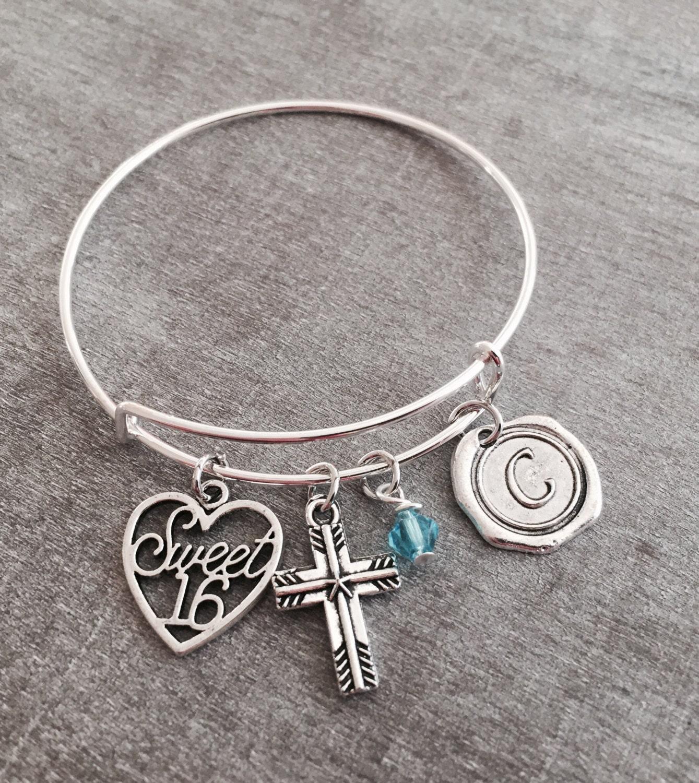 Sweet 16 Charm Bracelet: Silver Jewelry Charm Bracelet Sweet 16 Gift Sweet 16 Charm
